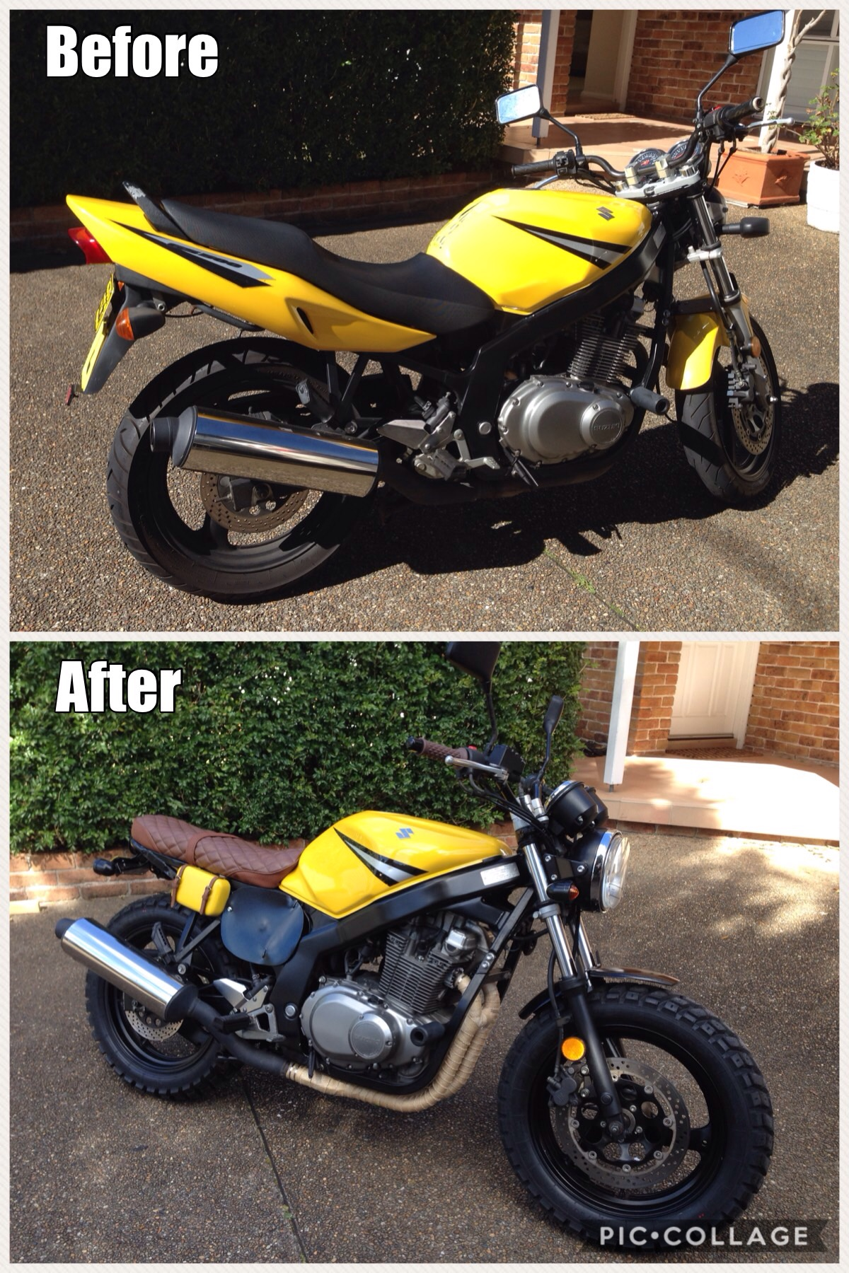 GS500 before and after the scrambler build